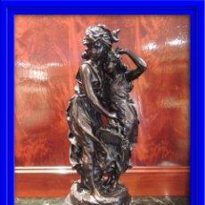 Arte: FIGURA DE BRONCE FIRMADA MOUREAU SOBRE MARMOL. Lote 52899888