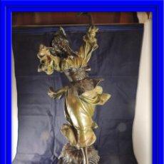 Arte: PRECIOSA FIGURA DE UNA ZINGARA DE BRONCE PATINADA EN TONOS VERDES DE CALIDAD FIRMADO. Lote 40444261