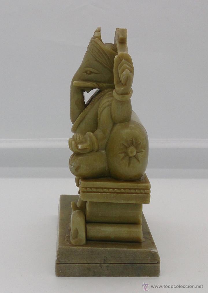 Arte: Escultura antigua del dios Ganesha en piedra jabón color verde jade tallada a mano . - Foto 3 - 82779403