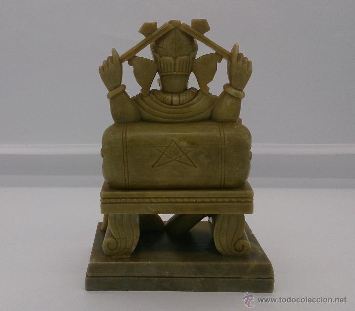 Arte: Escultura antigua del dios Ganesha en piedra jabón color verde jade tallada a mano . - Foto 5 - 82779403