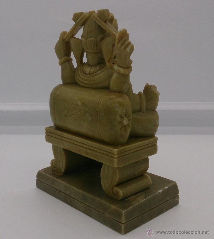 Arte: Escultura antigua del dios Ganesha en piedra jabón color verde jade tallada a mano . - Foto 6 - 82779403