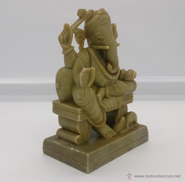 Arte: Escultura antigua del dios Ganesha en piedra jabón color verde jade tallada a mano . - Foto 8 - 82779403