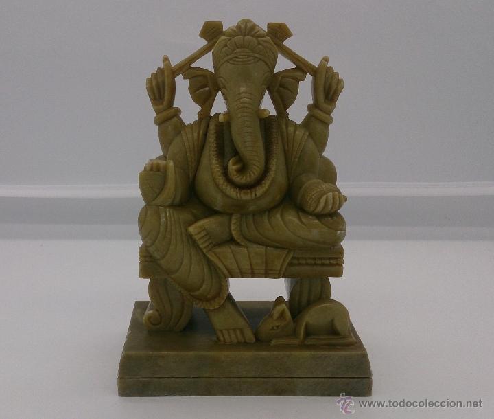 Arte: Escultura antigua del dios Ganesha en piedra jabón color verde jade tallada a mano . - Foto 9 - 82779403