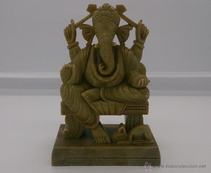 Arte: Escultura antigua del dios Ganesha en piedra jabón color verde jade tallada a mano . - Foto 12 - 82779403