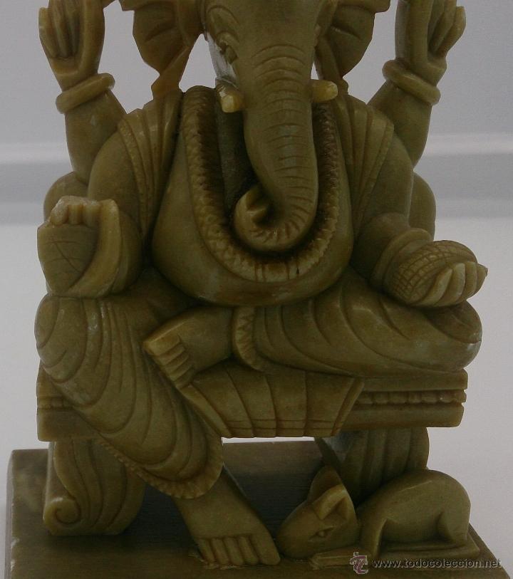 Arte: Escultura antigua del dios Ganesha en piedra jabón color verde jade tallada a mano . - Foto 13 - 82779403