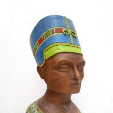 Arte: BUSTO TALLA MADERA POLICROMADA ANTIGUO REINA EGIPTO EGIPCIA NEFERTITI O NEFERTARI. Lote 169560558