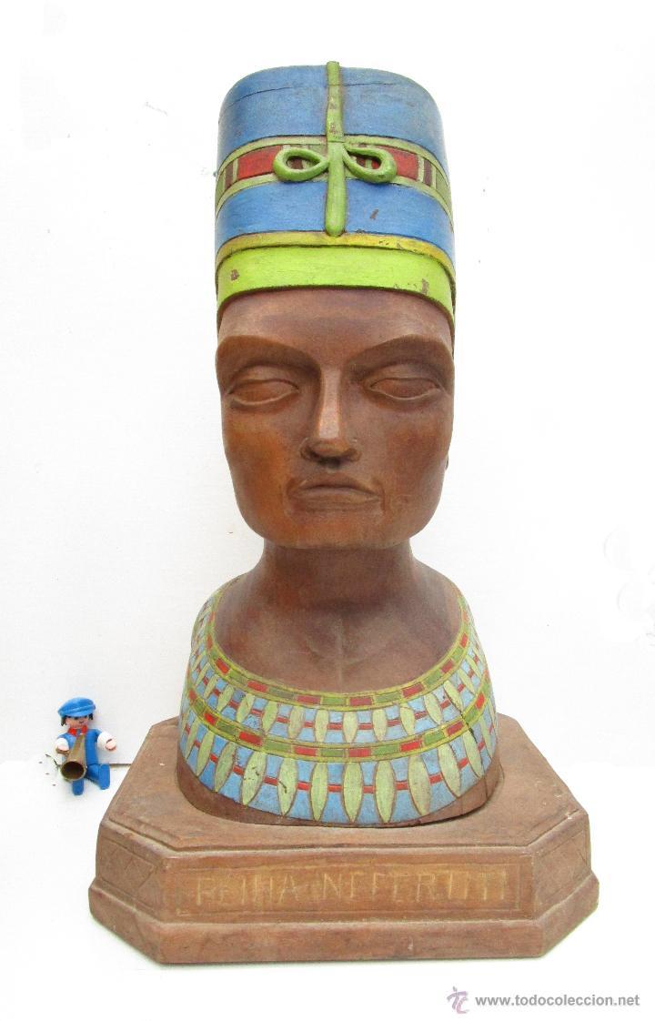 Arte: FABULOSO BUSTO TALLA MADERA POLICROMADA ANTIGUO REINA EGIPTO EGIPCIA NEFERTITI O NEFERTARI - Foto 2 - 53163812