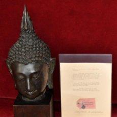 Arte: IMPORTANTE CABEZA DE BUDA SUKKOTHAY (THAILANDIA) EN BRONCE DL SG. XVIII CON CERTIFICADO AUTENTICIDAD. Lote 53790965