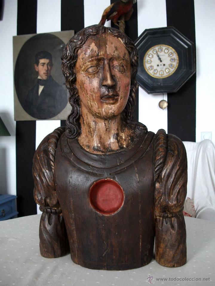 BUSTO RELICARIO S. JUAN. TALLA MADERA S. XVII-XVIII. IGLESIA, RETABLO, SANTO. (Arte - Escultura - Madera)