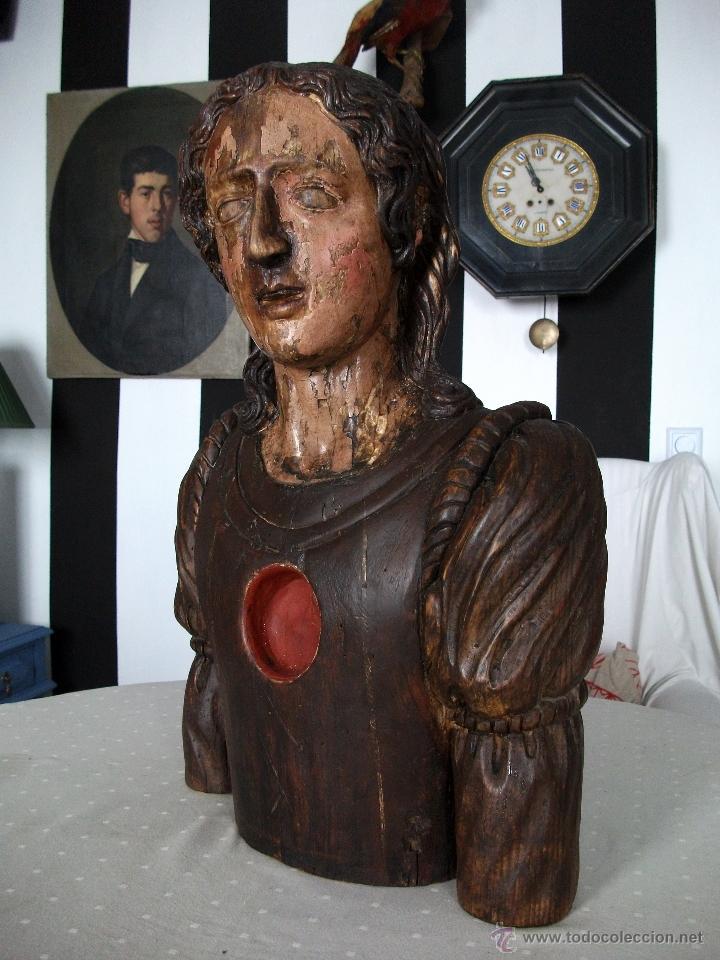 Arte: Busto relicario S. Juan. Talla Madera s. XVII-XVIII. Iglesia, retablo, santo. - Foto 2 - 54264483