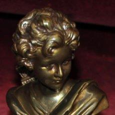 Arte: AGATHON LEONARD (LILLE, 1841 - PARÍS, 1923) CUPIDO BUSTO DE BRONCE DORADO Y FIRMADO. Lote 54425152