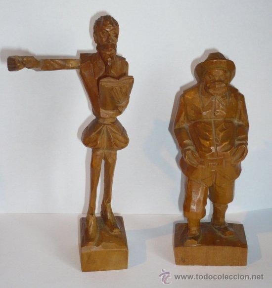 ANTIGUA FIGURA DON QUIJOTE Y SANCHO PANZA. TALLADA EN MADERA. 2 FIGURAS. ESCULTURA DE MADERA. (Arte - Escultura - Madera)