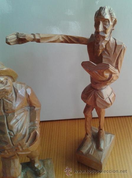 Arte: ANTIGUA FIGURA DON QUIJOTE Y SANCHO PANZA. TALLADA EN MADERA. 2 FIGURAS. ESCULTURA DE MADERA. - Foto 4 - 54610668