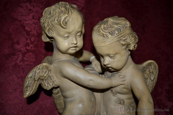 Arte: MAGNIFICA PAREJA DE ANGELES CUPDOS EN TERRACOTA,S. XIX - Foto 2 - 54659694
