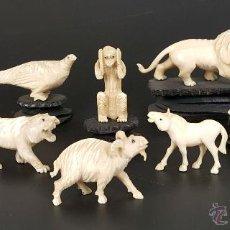 Arte: COLECCION DE 9 FIGURAS DE ANIMALES EN HUESO TALLADO. PRINCIPIOS SIGLO XX.. Lote 54193876