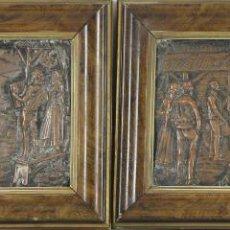 Arte: E2-049. PAREJA DE BAJORELIEVES EN COBRE. BAILES TRADICIONALES VASCOS. SIGLO XIX.. Lote 53547635