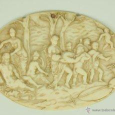 Arte: MEDALLÓN BAJO RELIEVE. ESCENA MITOLÓGICA. TALLA SOBRE MARFIL. ITALIA. SIGLO XVI-XVII. Lote 47237945