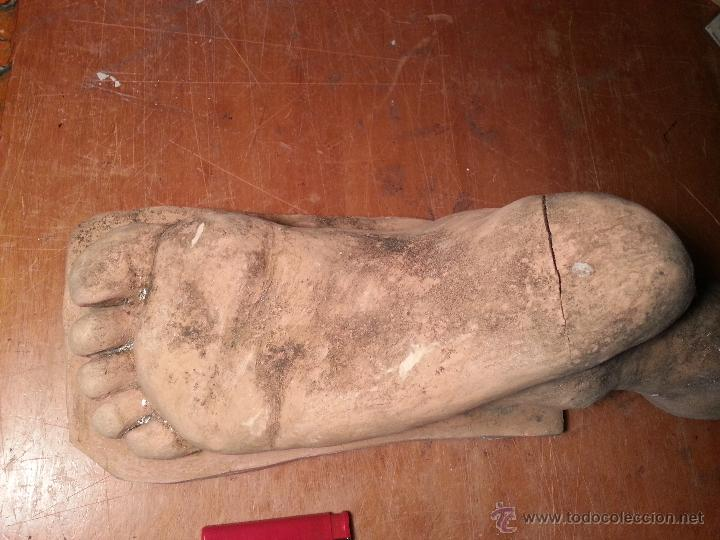 Arte: escultura antiguo gran pie de cristo santo etc, barro cocido para sacar de punto modelo exvoto... - Foto 3 - 247433020