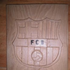 Arte: ESCULTURA DE MADERA TALLA ESCUDO GRL BARCELONA FUTBOL CLUB BARÇA. Lote 55090958