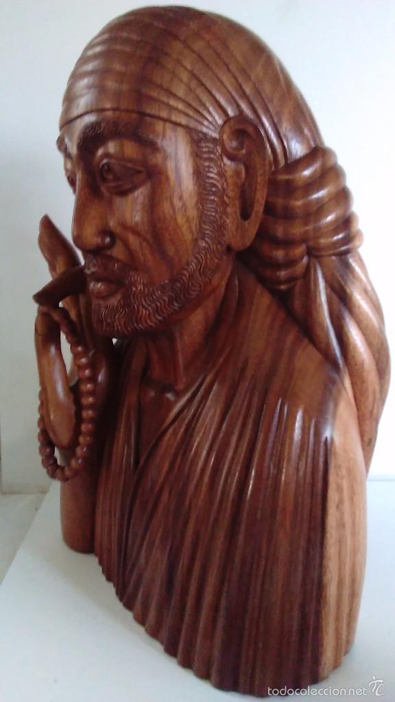 Arte: Escultura oriental tallada en madera noble. 47 cm x 30 cm. Peso: 8 Kg - Foto 6 - 55405089
