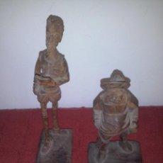 Arte: 2 ANTIGUAS TALLAS EN MADERA DON QUIJOTE Y SANCHO . Lote 56177905