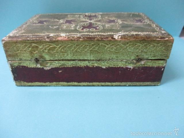 Arte: Antigua caja de madera con pan de oro (ver fotos) 15 x 10 x 5 cm - Foto 7 - 56526665
