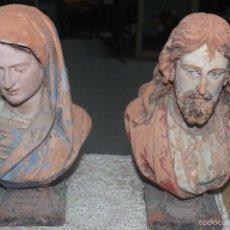 Arte: VIRGEN MARIA Y JESUS.PRECIOSOS BUSTOS MUY ANTIGUOS DE TERRACOTA. (ALTURA 37CM). Lote 56536741