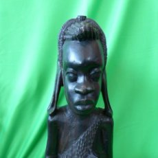 Arte: FIGURA DE EBANO DE MUJER AFRICANA TALLADO A MANO. Lote 56654074