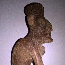 Arte: ARTE TAINO,AUTENTICA FIGURA TAINA EN MADERA, ENTERRADA EN PENINSULA DE SAMANA, REPUBLICA DOMINICANA.. Lote 123555435