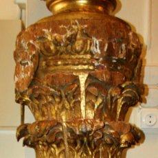 Arte: COLUMNA SALOMÓNICA. MADERA TALLADA. POLICROMÍA ORIGINAL. ESPAÑA. XVII-XVIII.. Lote 56919824