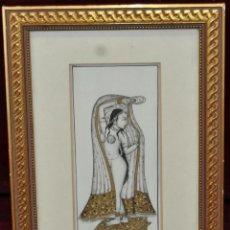Arte: BONITA MINIATURA INDIA PINTADA SOBRE PLACA DE MARFIL. 16 CM. X 6,5 CM.. Lote 57227816