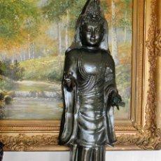 Arte: GRANDIOSO BUDA ASIATICO GUANYIN THAILANDIA EN BRONCE SIGLO XVIII-XIX ALTURA 94 CMS 8,5 KG. Lote 52149069
