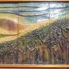 Arte: ESCULTURA MURAL PLAFON TERRACOTA ESMALTADA FIRMADA M.PLANAS. AÑOS 80. Lote 57346433