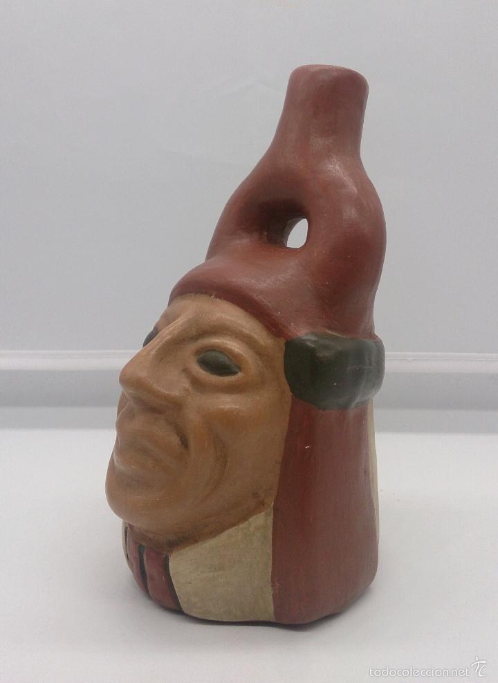 REPRODUCCIÓN DE ANTIGUO HUACO PRECOLOMBINO EN TERRACOTA POLICROMADO A MANO ( CULTURA MOCHICA ARICA ) (Arte - Escultura - Terracota )