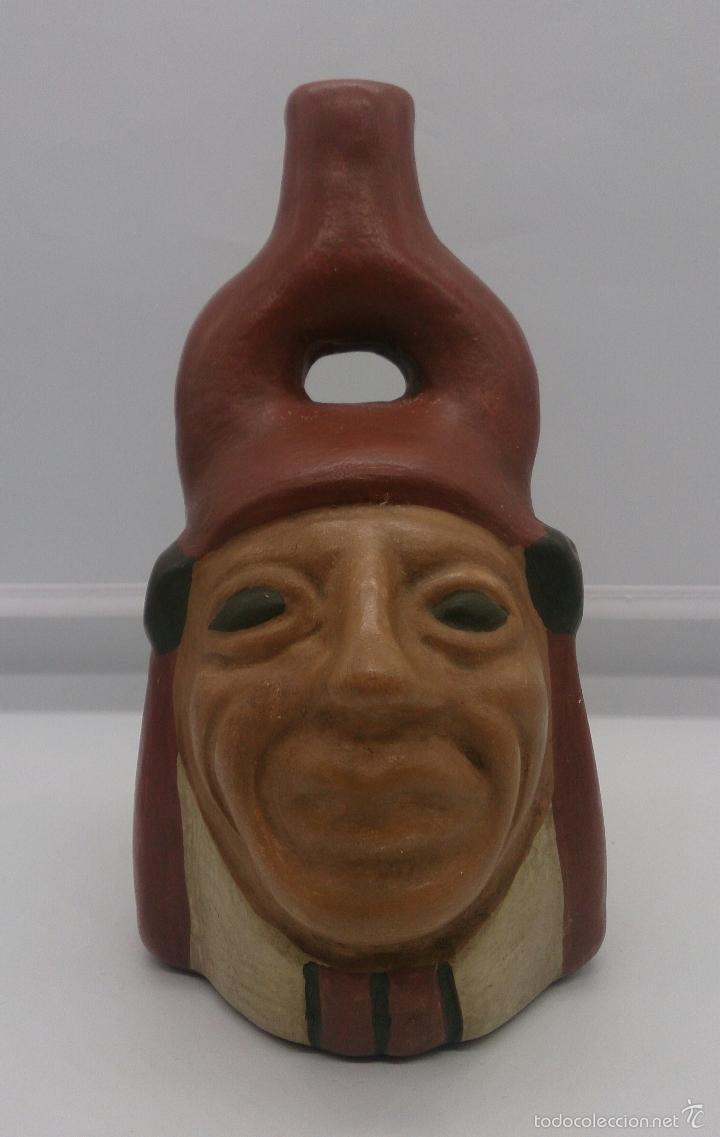 Arte: Reproducción de antiguo Huaco precolombino en terracota policromado a mano ( Cultura Mochica Arica ) - Foto 2 - 58121006
