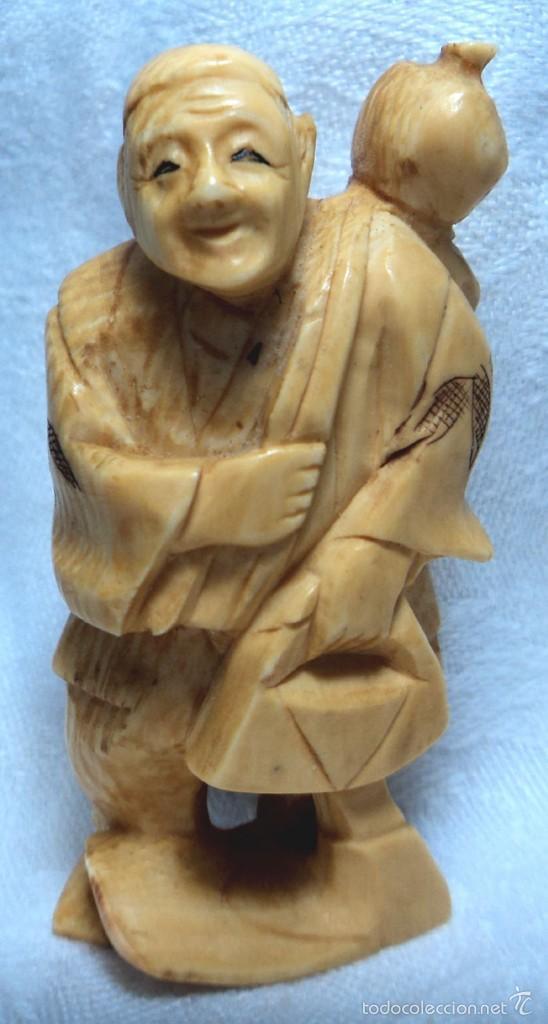 ANTIGUO NETSUKE OKIMONO DE MARFIL HECHO A MANO MIDE 5,7 CM JAPONES FIRMADO (Arte - Escultura - Marfil)