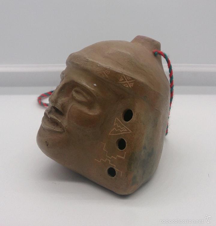 REPRODUCCIÓN DE ANTIGUA FLAUTA PRECOLOMBINA DE LA CULTURA MOCHICA ARICA EN TERRACOTA, HECHA A MANO (Arte - Escultura - Terracota )