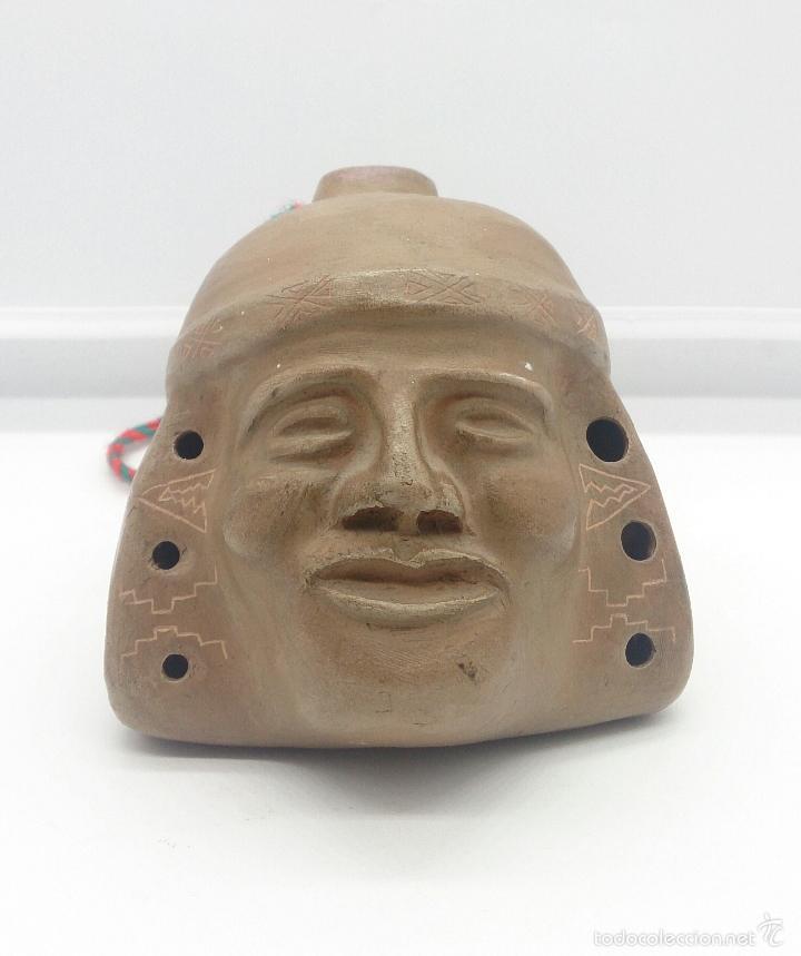 Arte: Reproducción de antigua flauta precolombina de la cultura Mochica Arica en terracota, hecha a mano - Foto 2 - 58161997