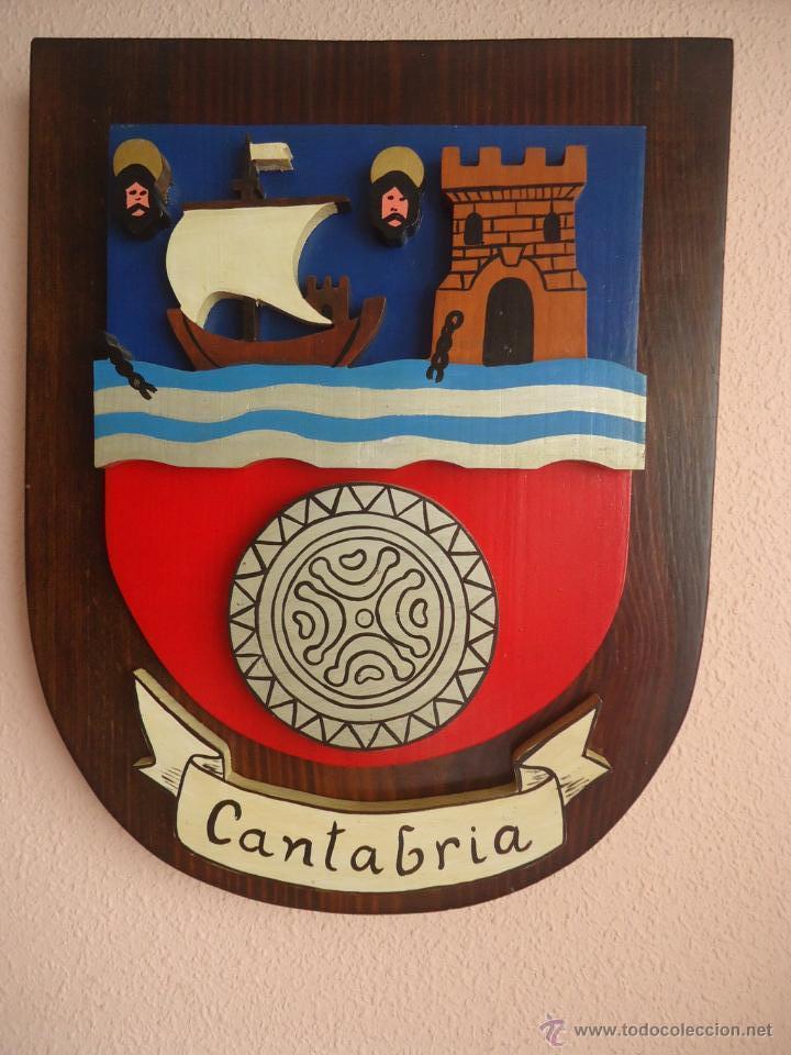 ESCUDO DE CANTABRIA. MADERA 39 X 31 X 6 . TRIFASICO (Arte - Escultura - Madera)