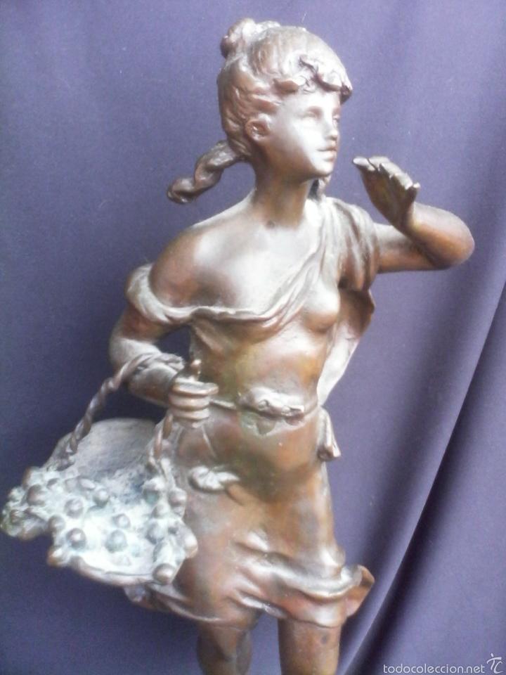 Arte: Figura escultura de bronce macizo muy antiguo 48cm - Foto 2 - 58349652
