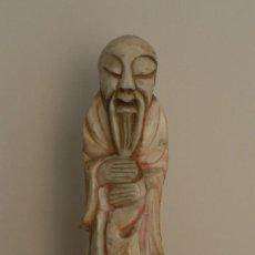 Arte: ANTIGUA TALLA ESCULTURA FIGURA CHINA CHINO SOBRE PEANA - PIE DE LAMPARA DE MESA - DECORACION. Lote 59550831