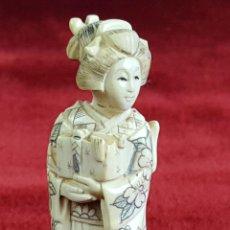 Arte: GEISHA. NETSUKE EN MARFIL TALLADO. FIRMADO. JAPON. PRINCIPIOS SIGLO XX. . Lote 59907899