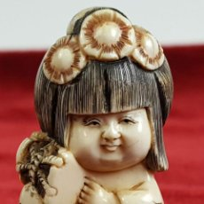 Arte: GEISHA. NETSUKE EN MARFIL TALLADO. FIRMADO. JAPON. PRINCIPIOS SIGLO XX. . Lote 139584428