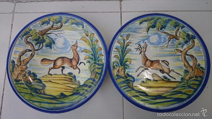 COMJUNTO DE PLATOS TALAVERA 34 ACR. (Arte - Escultura - Porcelana)