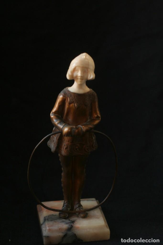 ESCULTURA CRISOELEFANTINA ART NOUVEAU MARFIL BRONCE (Arte - Escultura - Bronce)