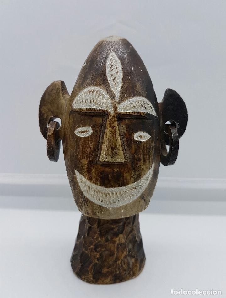 Arte: Busto antiguo andino en piedra marrón natural tallada y pulida a mano . - Foto 5 - 62687640