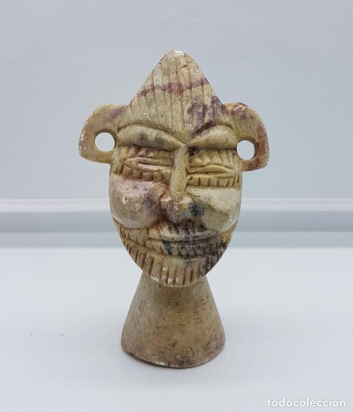 Arte: Busto antiguo andino en piedra natural tallada y pulida a mano . - Foto 5 - 62688480