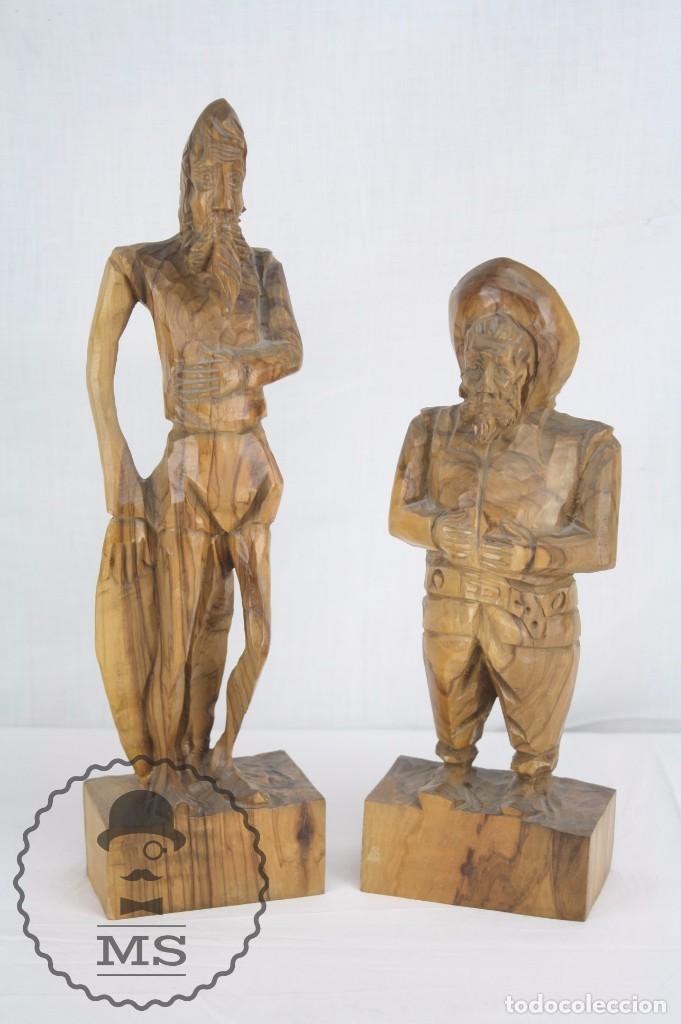 PAREJA DE ESCULTURAS / TALLAS EN MADERA - DON QUIJOTE Y SANCHO PANZA - ALTURA 35 CM Y 28,5 CM (Arte - Escultura - Madera)