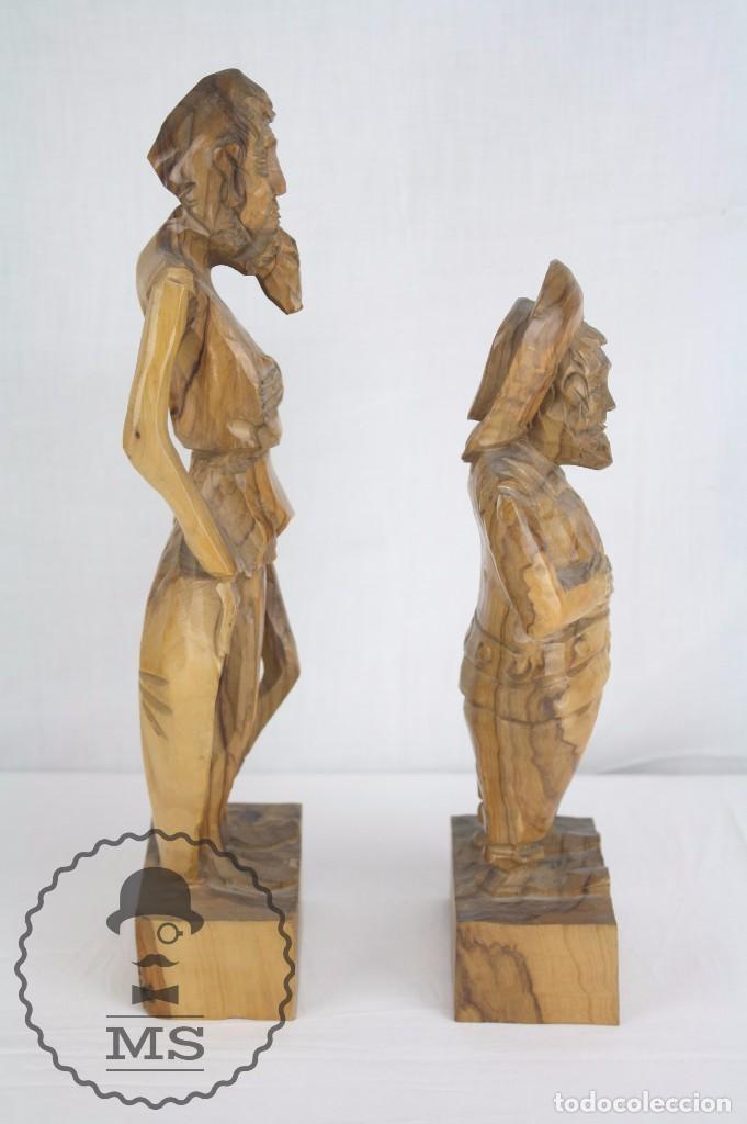Arte: Pareja de Esculturas / Tallas en Madera - Don Quijote y Sancho Panza - Altura 35 cm y 28,5 cm - Foto 2 - 63634359
