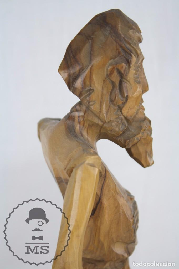 Arte: Pareja de Esculturas / Tallas en Madera - Don Quijote y Sancho Panza - Altura 35 cm y 28,5 cm - Foto 3 - 63634359